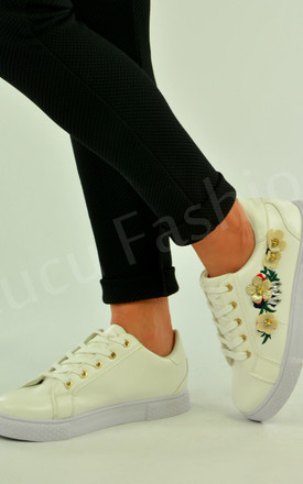 Womens White Flat Trainers Lace Up Embroidered Flower Sneaker Pumps by Solewish