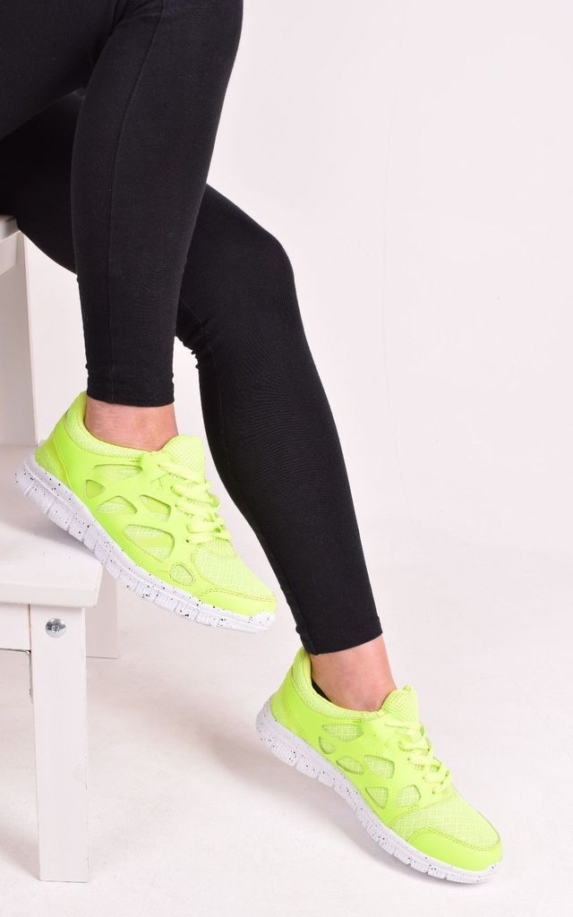 Womens Green Lace Up Trainers Gym Running Walking Casual Flat Sports Shoes by Solewish