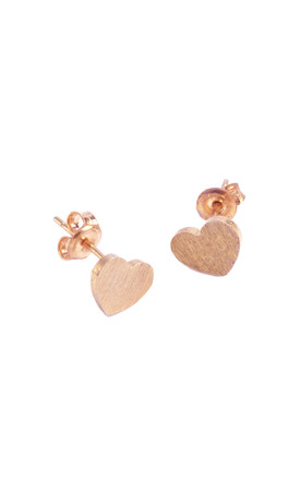 Heart Earring in Rose Gold by White Leaf