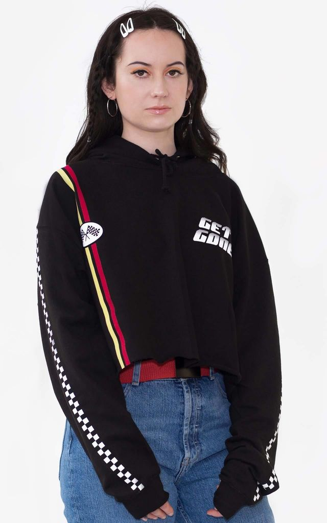Get Gone Black Cropped Hoodie by Redressed