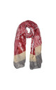 Contrast Print Scarf in Red and Stone by White Leaf