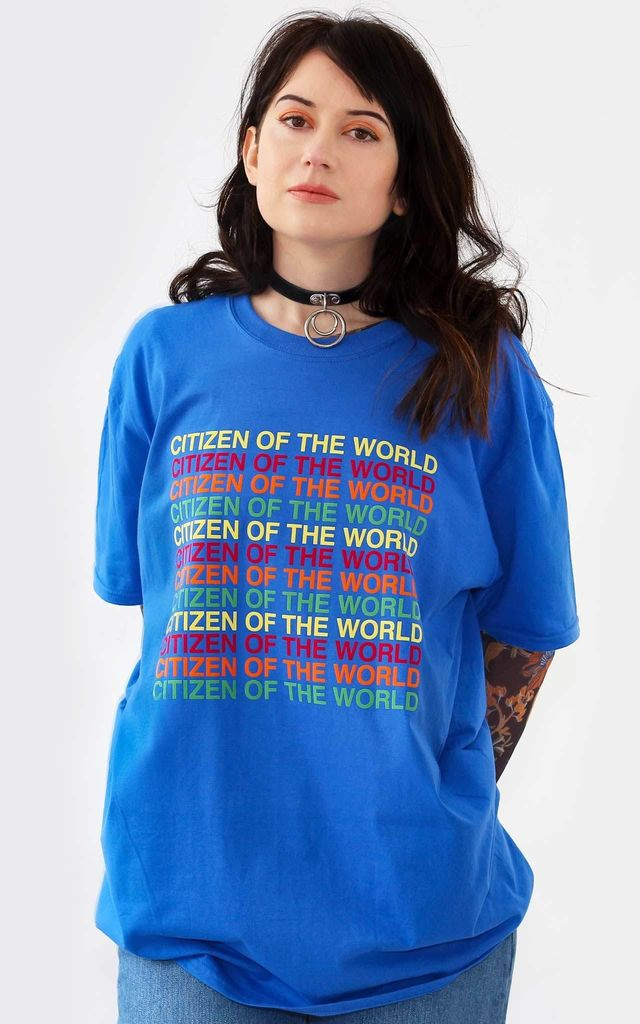 Citizen of The World Blue T Shirt by Redressed