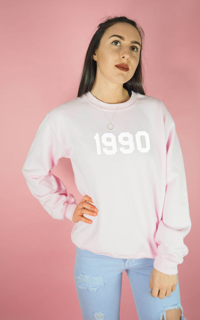 Personalised Year Sweatshirt in Pink White by Rock On Ruby