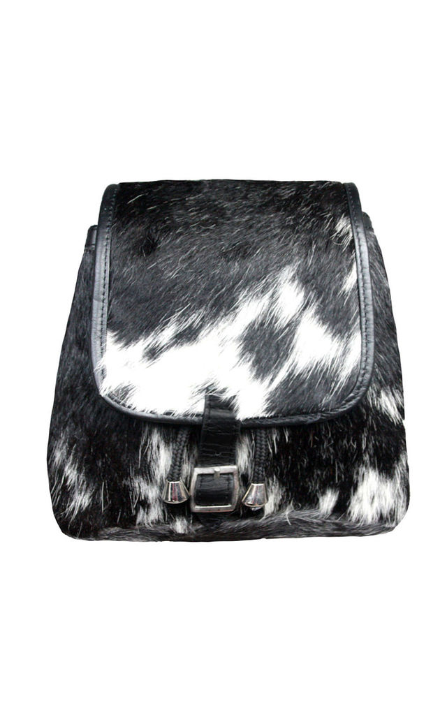 BLACK AND WHITE COW HIDE RUCKSACK by Luna Love London