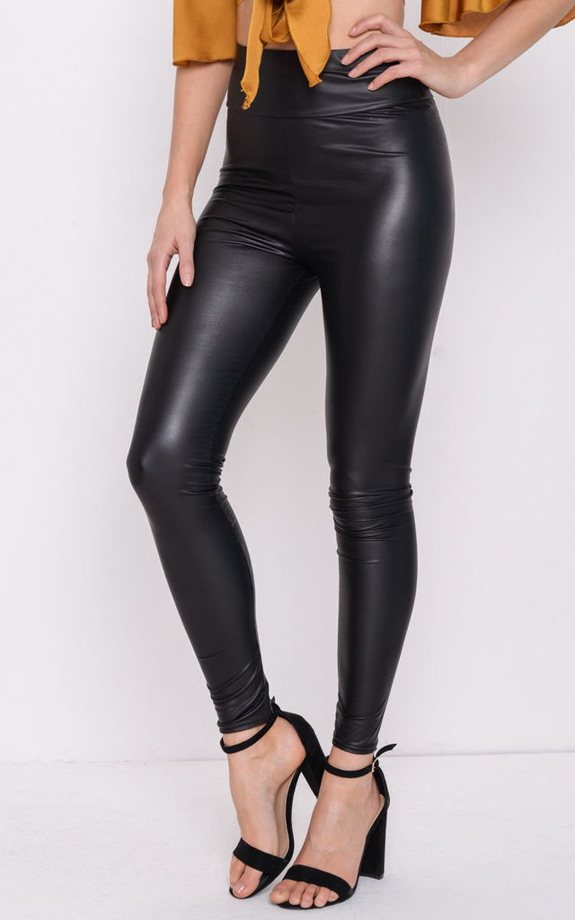 Wet Look High Waisted Leggings Black by LILY LULU FASHION