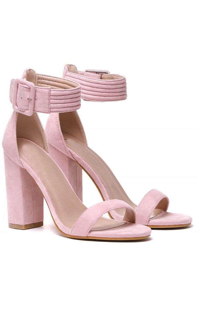 Light Pink Ankle Strap Strappy Sandals Peep Toes High Heel by Shoe Closet