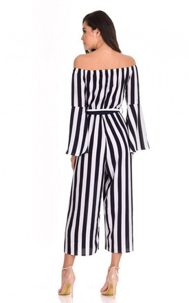 NAVY STRIPED OFF THE SHOULDER JUMPSUIT by AX Paris