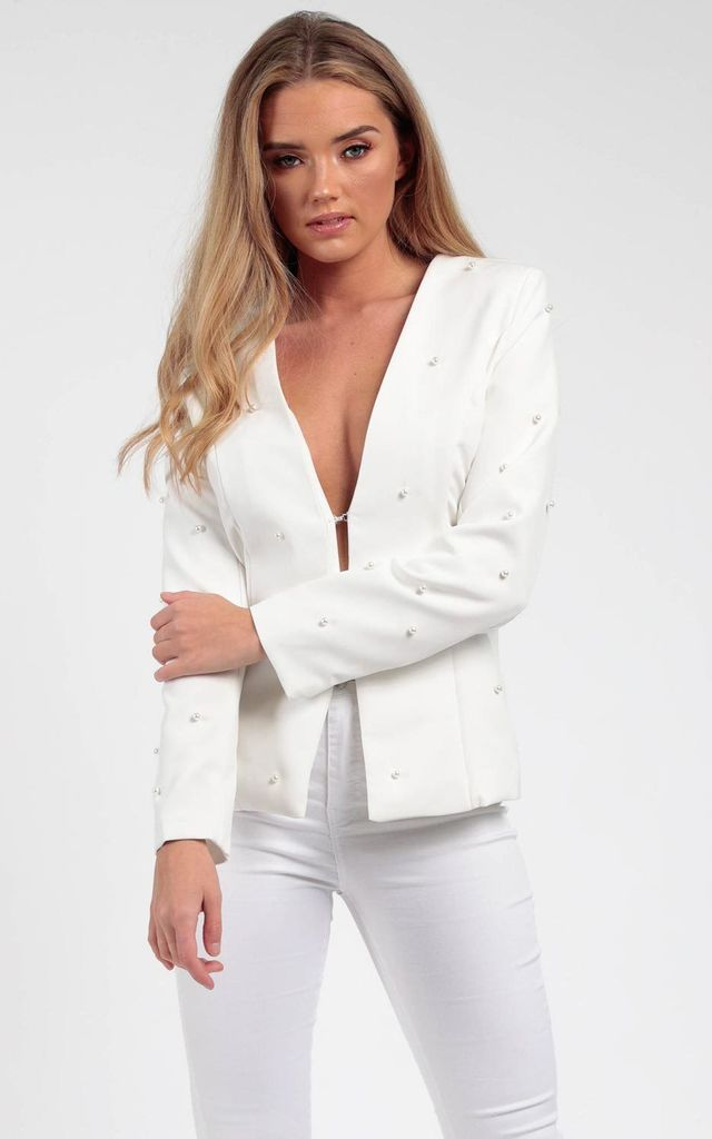 Pearl Tailored Blazer Ivory by MISSI LONDON