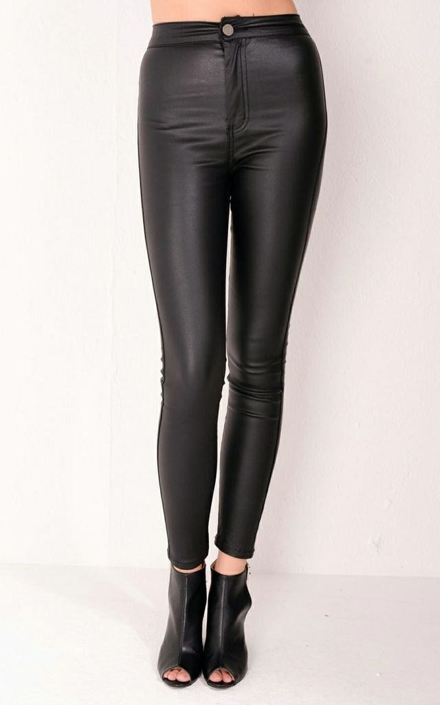 special discount reliable reputation new lower prices High Waisted Faux Leather Trousers Jeans Black By LILY LULU FASHION