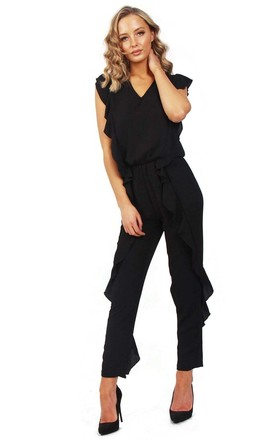 Black V Neck Ruffle Detail Smart Casual Jumpsuit by Urban Mist