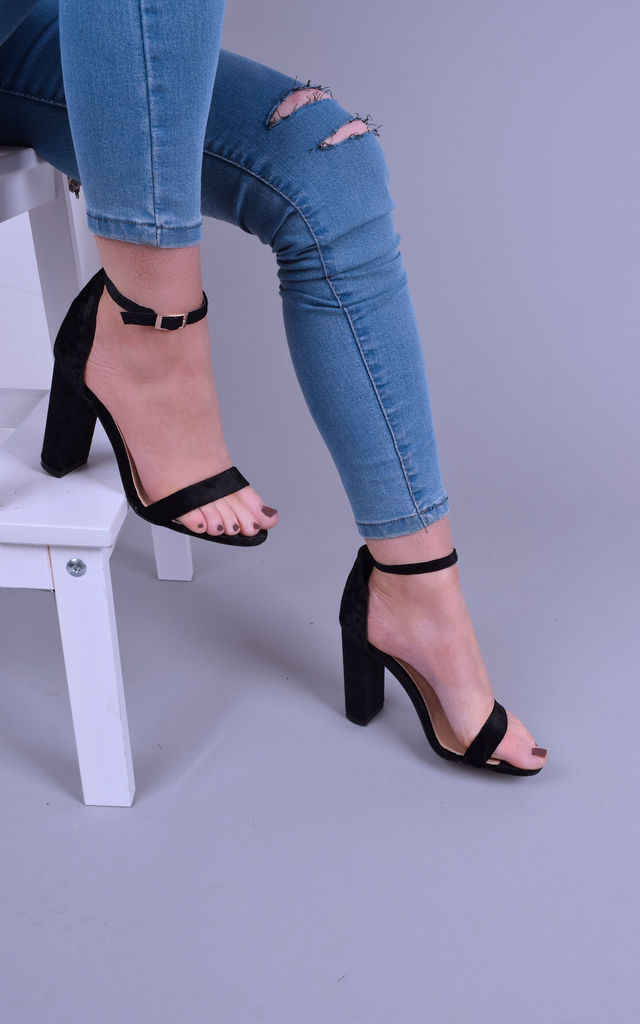 Ladies Black Velvet Block Heel Sandals by Solewish