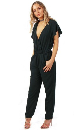 Dark Green Ruffle Sleeve V Neck Jumpsuit with Lace by Urban Mist