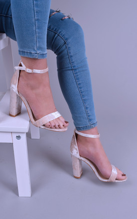 Ladies Nude Velvet Block Heel Sandals by Solewish
