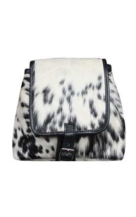 WHITE AND BLACK COW HIDE RUCKSACK by Luna Love London