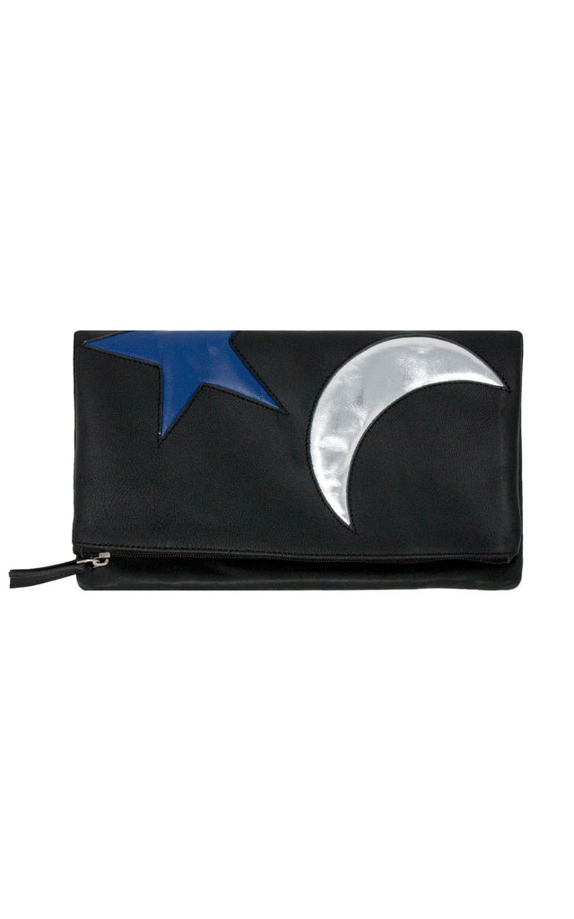 MOON AND STAR FOLDED CLUTCH BAG by Luna Love London