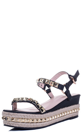 BABELICIOUS Platform Wedge Espadrille Sandals - Black Leather Style by SpyLoveBuy