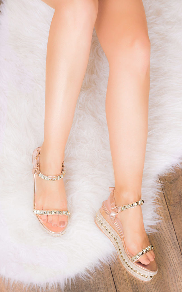 BABELICIOUS Platform Wedge Espadrille Sandals - Gold Leather Style by SpyLoveBuy