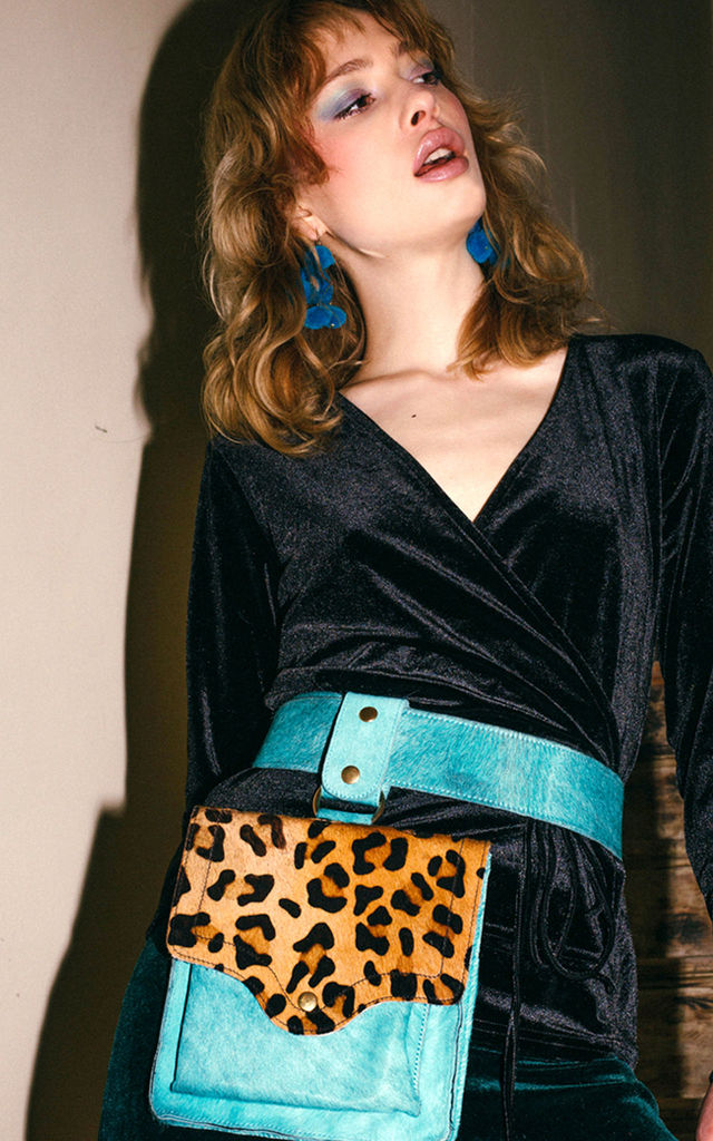 TURQUOISE AND LEOPARD BELT BAG by Luna Love London