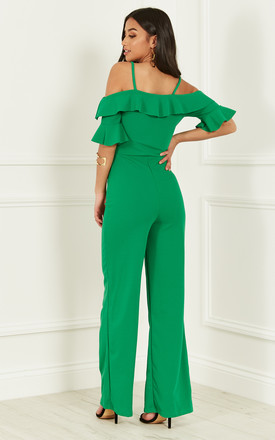 GREEN COLD SHOULDER FRILL JUMPSUIT by Bella and Blue