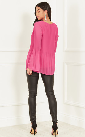 Fuchsia Chiffon Pleated Bell Sleeve Top by Bella and Blue