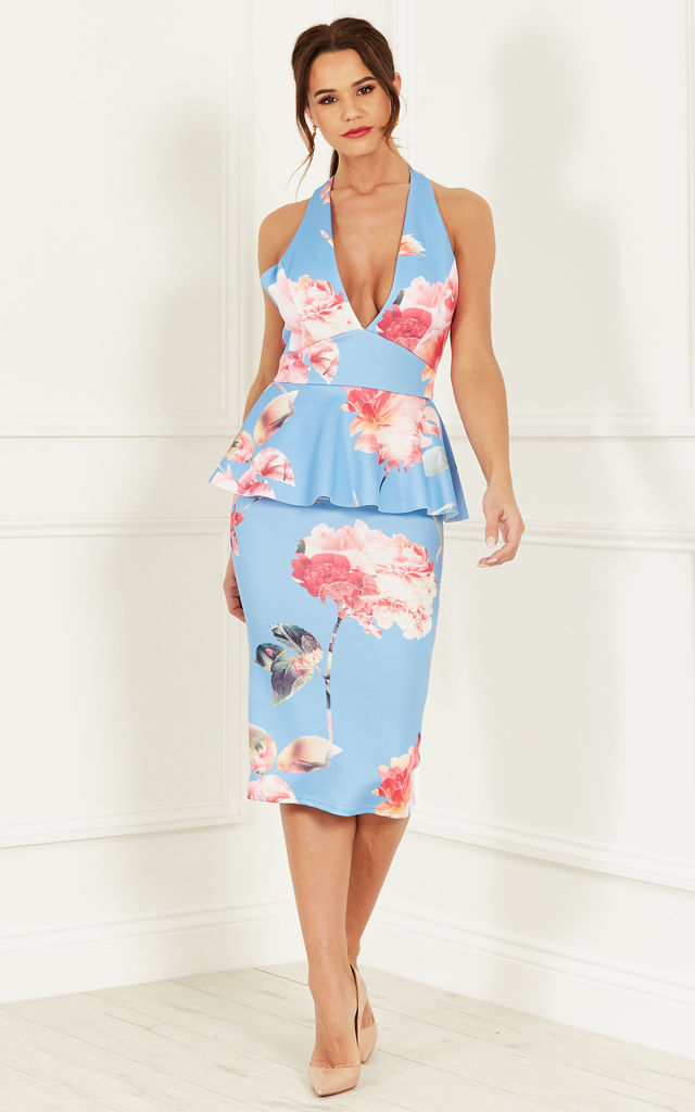 BLUE FLORAL PEPLUM DRESS by Bella and Blue
