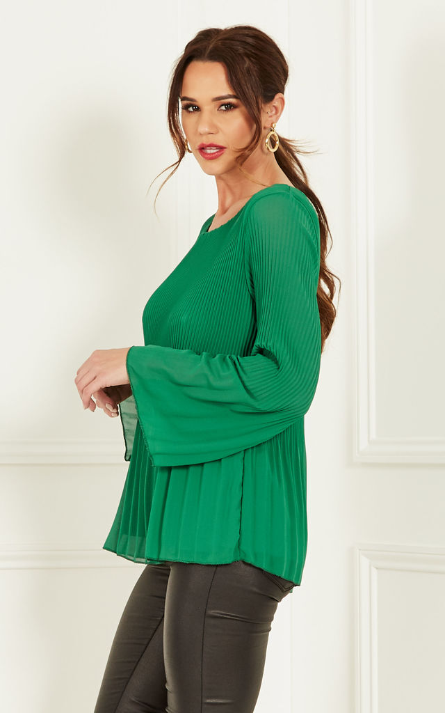 Green Chiffon Pleated Bell Sleeve Top by Lilah Rose