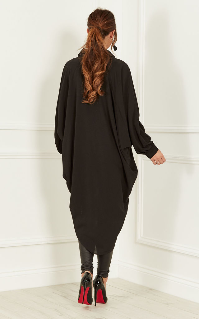 Black Batwing Crepe Shirt by Bella and Blue