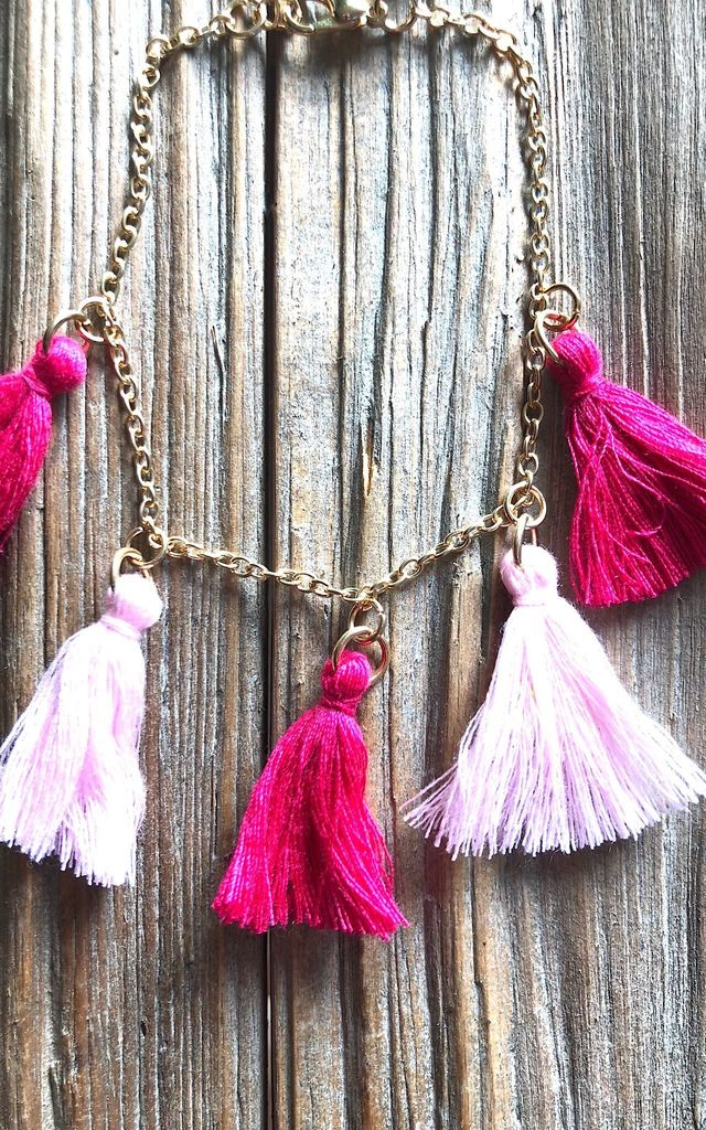 Ibiza pink tassel anklet by Lovelock jewels