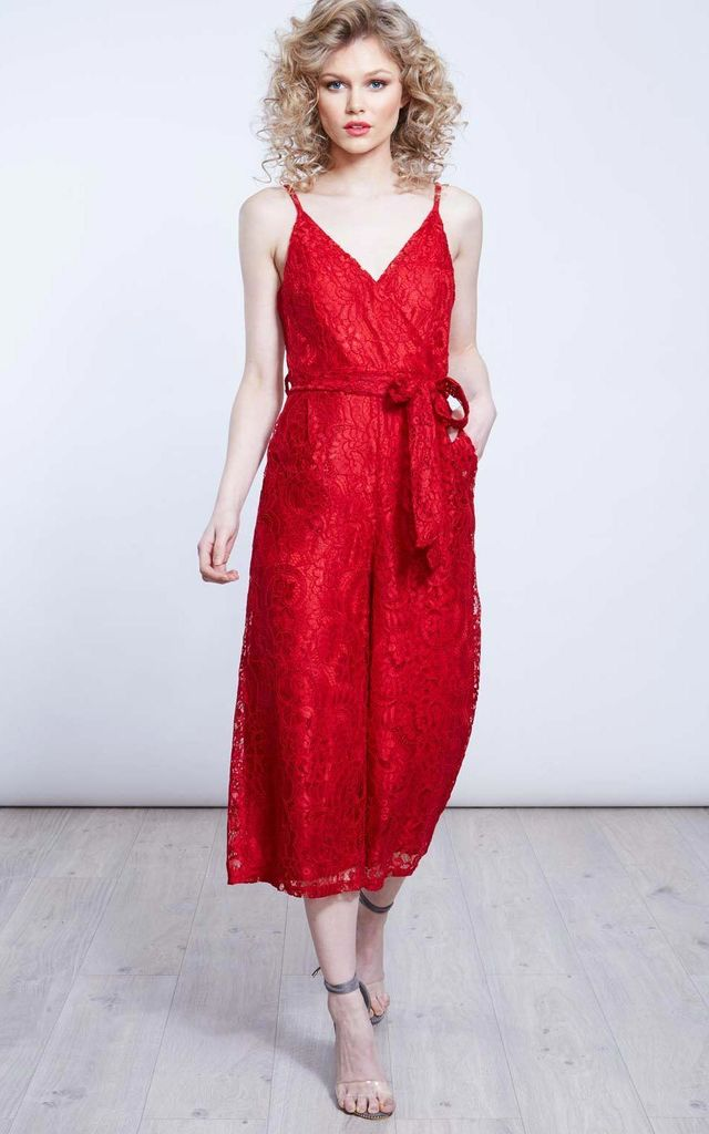 ERICA – Red Lace Wrap Jumpsuit by Blue Vanilla