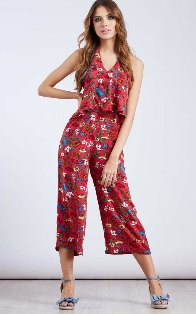 OZMA – Pink Halterneck Tropical Print Jumpsuit by Blue Vanilla
