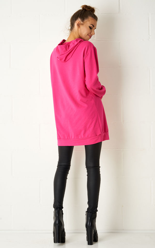 Harlow Oversized Cotton Jersey Hooded Top In Fuschia by Frontrow Limited