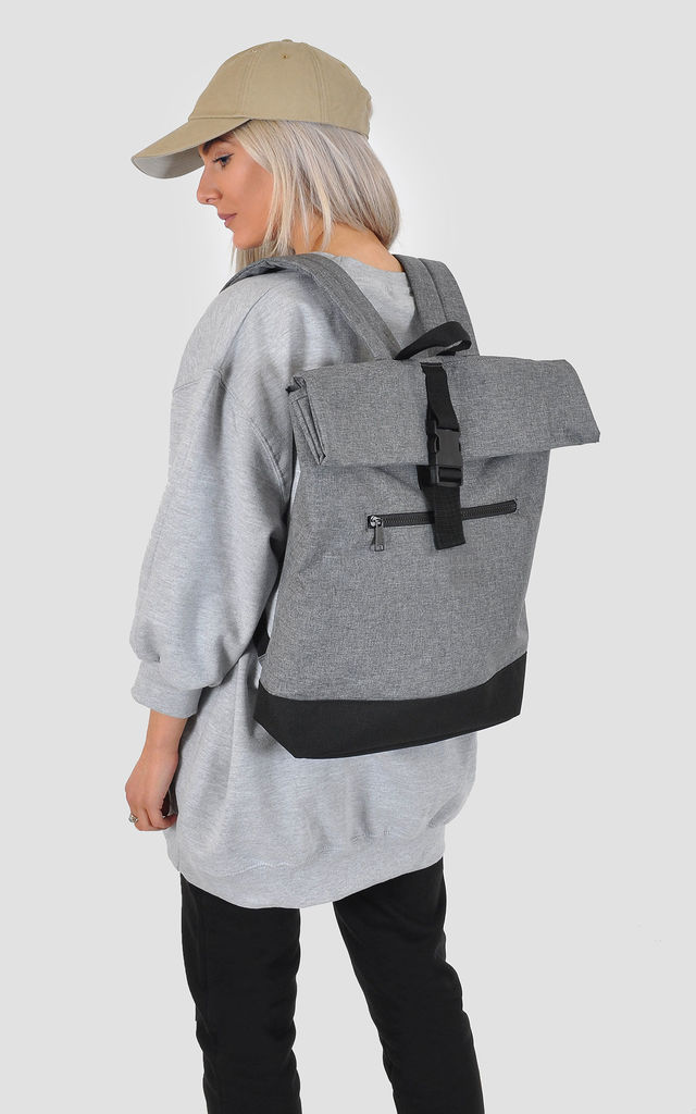 Grey marl roll top laptop backpack by The Left Bank