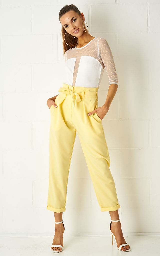 Abbiye High Waist Paperbag Tapered Trousers In Yellow by love frontrow