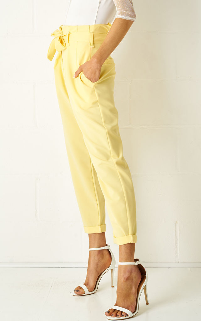 Abbiye High Waist Paperbag Tapered Trousers In Yellow by Frontrow Limited