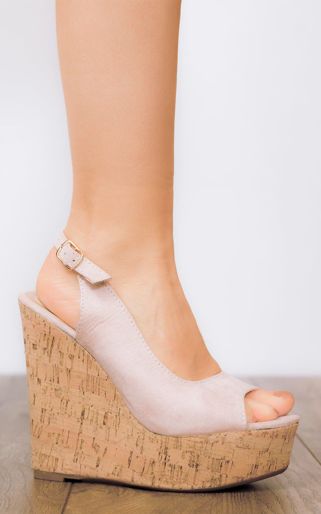 DOWN AT HEEL Adjustable Buckle Wedge Heel Sandals Shoes - Nude Suede Style by SpyLoveBuy