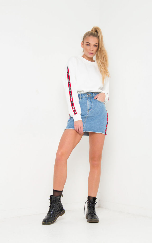 FUTURE IS FEMALE SPORTS STRIPE DENIM MINI SKIRT by LIQUOR N POKER