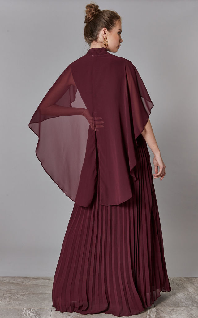 Wine Pussy Bow Dress with Pleated Skirt by True Decadence
