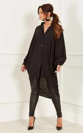 Black Batwing Crepe Shirt by Bella and Blue Product photo