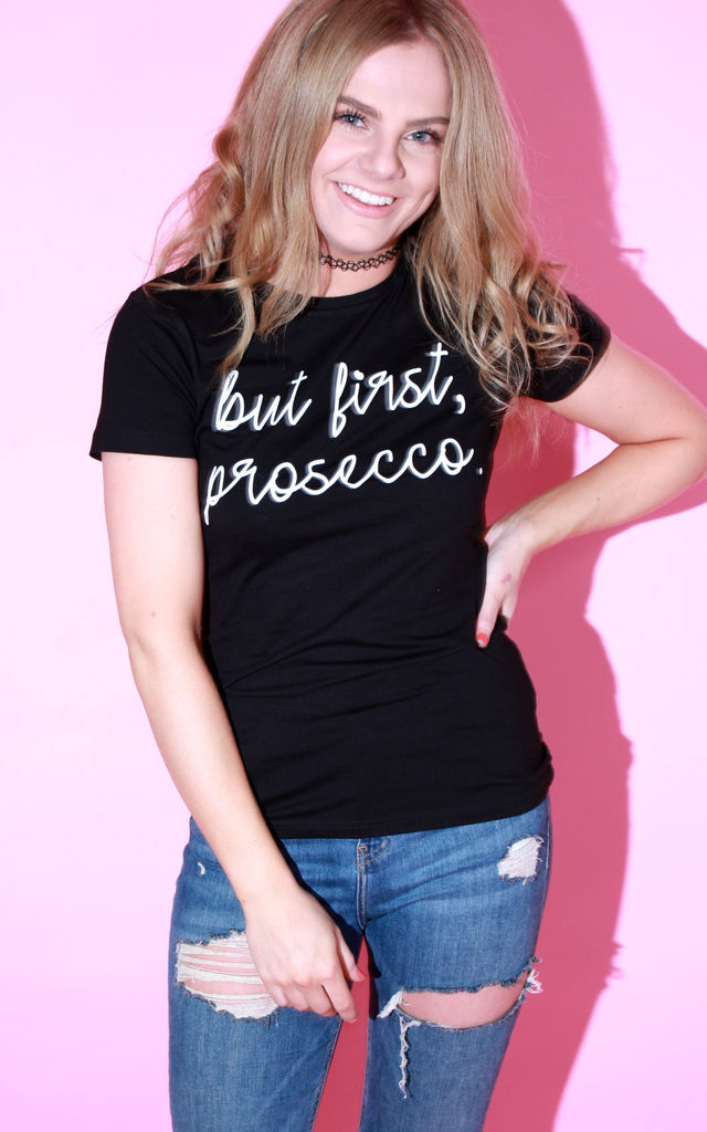 T Shirt in Black with Prosecco Slogan Top by Save The People
