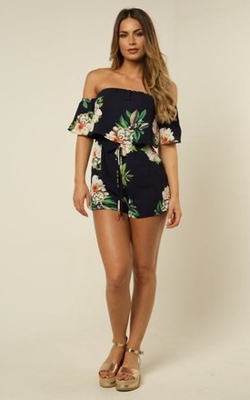 Floral Print Bardot Playsuit - Navy by AJ | VOYAGE