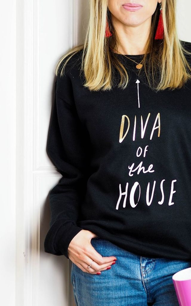 Diva of the House Sweatshirt in Black by Rock On Ruby