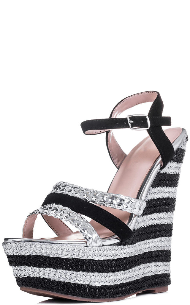 TRULY WILD Platform Wedge Heel Shoes - Silver Leather Style by SpyLoveBuy