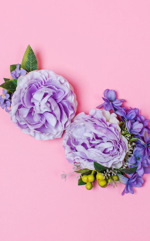 Cottage Garden Corsage in Cornflower - Mini Corsage by Crown and Glory
