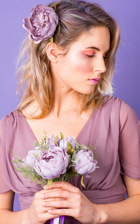 Alvina Oversized Peony Corsage - Lavender by Crown and Glory