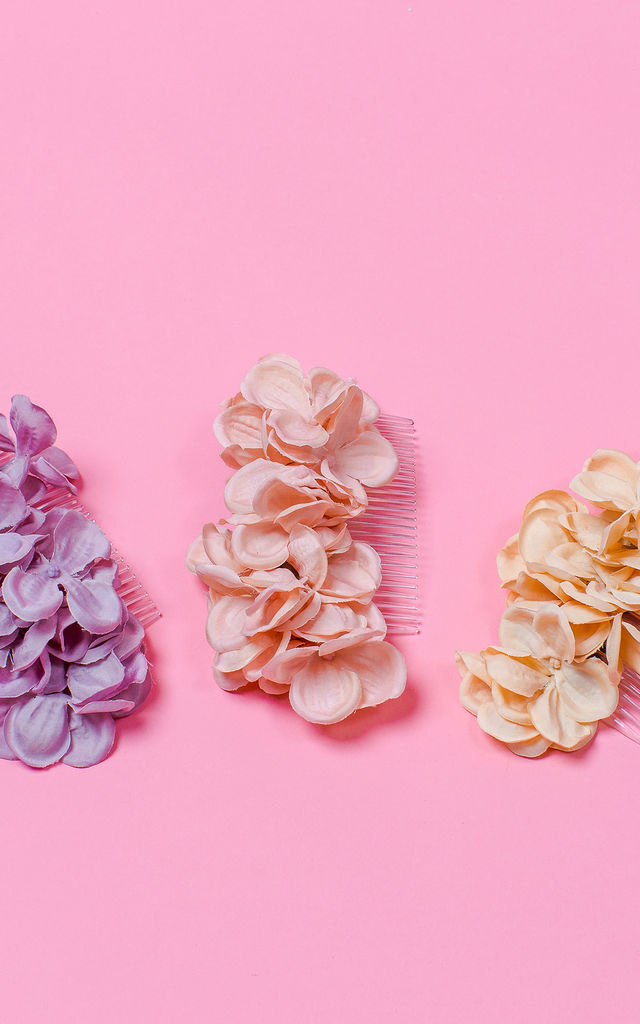 Bronwen Hydrangea Blossom Side Headpiece - Champagne Pink by Crown and Glory