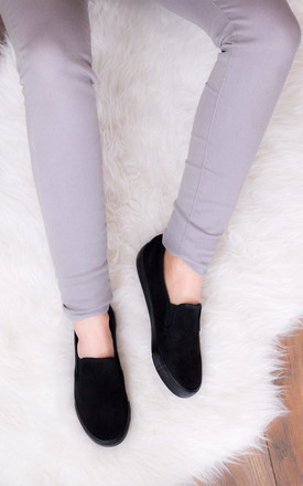 BE AWESOME Flat Slip On Loafer Skater Shoes - Black Suede Style by SpyLoveBuy