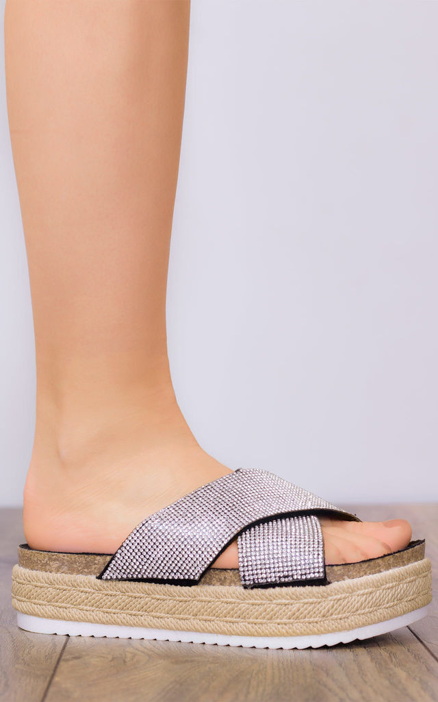 OUTSHINE Open Peep Toe Flat Sandals Shoes - Silver Leather Style by SpyLoveBuy