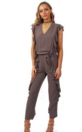 Grey V Neck Ruffle Detail Smart Casual Jumpsuit by Urban Mist