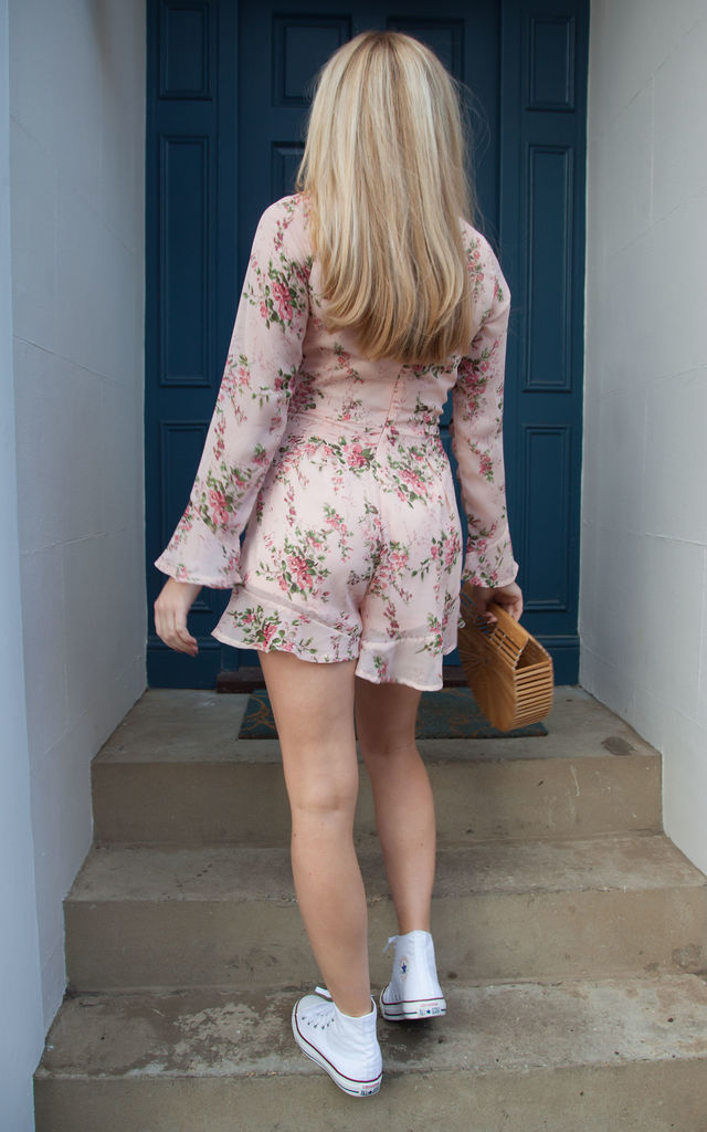 Floral Chiffon Tie Front Long Sleeve Frill Playsuit In Nude/Pink by Styled In London