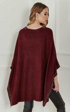 Wine Studded Poncho by Lilah Rose